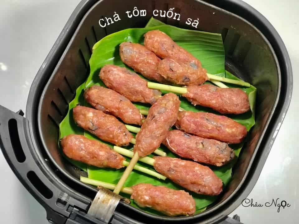 cha tom cuon sa nuong noi chien khong dau