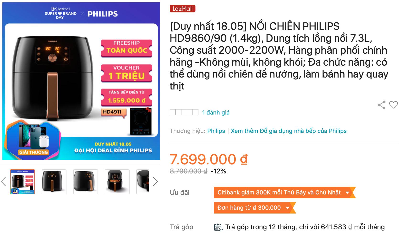 Nồi chiên không dầu Philips HD9860/90 cao cấp