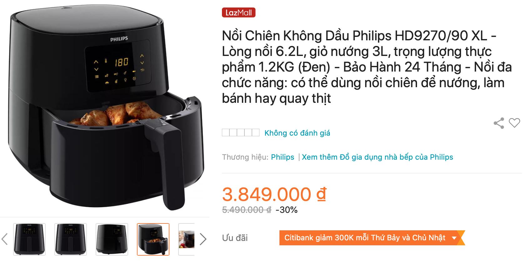 Địa chỉ mua sắm nồi chiên không dầu Philips HD9270/90
