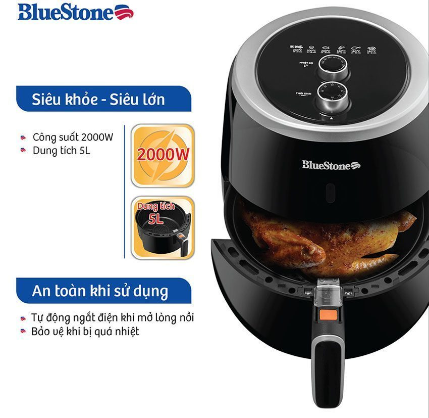 【REVIEW】Nồi chiên không dầu BlueStone AFB-5870 với bảng điều khiển điện tử kết hợp màn hình LED sang trọng